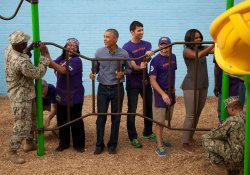 President Obama takes part in project for September 11th National Day of Service and Remembrance