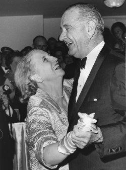 Mrs. E. Clifton Daniel Jr. dances with President Johnson at Inaugural Ball