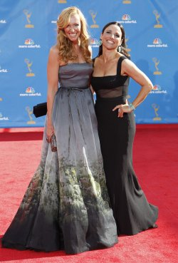 Julia Louis-Dreyfus and Toni Collette arrive at the 62nd Primetime Emmy Awards in Los Angeles