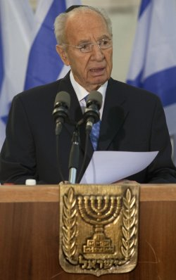 President Shimon Peres speaks on anniversary of the assassination of Israeli Prime Minister Yitzhak Rabin