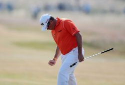 Lee Westwood drives on the second tee at the Open Championship