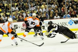 Pens Malkin Takes Shoot on Goal Against Flyers in Pittsburgh