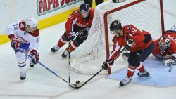 Capitals green and Laich block shot from Canadiens Cammalleri in Washington