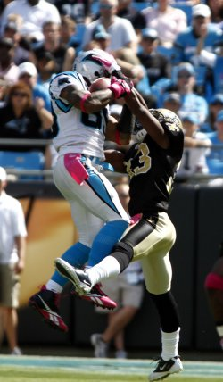 Carolina Panthers wide receiver Steve Smith makes touchdown catch against the New Orleans Saints