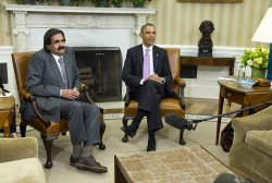 President Barack Obama meets with the Amir of Qatar, Hamad bin Khalifa al-Thani, in Washington