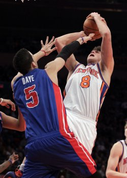 New York Knicks Danilo Gallinari shoots over Detroit Pistons Austin Daye at Madison Square Garden in New York
