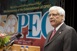 Secretary General of OPEC Abdalla Salem El Badri attends the 50th anniversary of OPEC in Iran