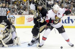 Penguins Brooks Orpik Protects Goal in Pittsburgh