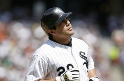Chicago White Sox's Carlos Quentin grounds out against the New York Yankees