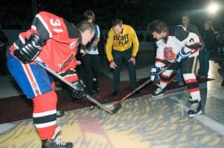 OPENING FACE OFF OF JUNO CUP HOCKEY MATCH