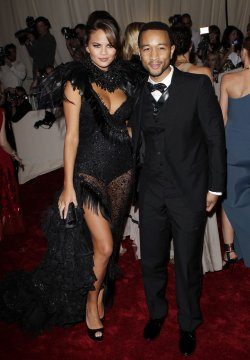 Christine Teigen and John Legend arrive at the Costume Institute Gala Benefit in New York