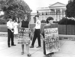 Demonstrators in front of White House want George Hamilton to get drafted into the Army