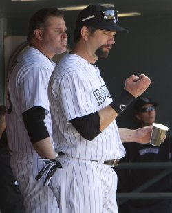 Rockies Helton and Giambi Watch Team Against the Mets in Denver