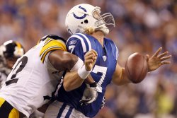 Colts Quarterback Painter Sacked by Steelers Harrison