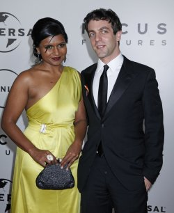 Mindy Kaling and B.J. Novak arrive at the NBC/Universal Golden Globes After-Party in Beverly Hills