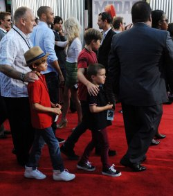 "Romeo, Cruz and Brooklyn Beckham attend the ""Real Steel"" premiere in Universal City, California"
