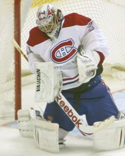 Canadiens Goalie Price Makes a Save Against the Avalanche in Denver