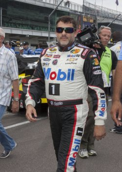 Driver Tony Stewart before Sprint Cup qualifying