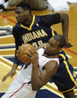 The Atlanta Hawks play the Indiana Pacers in Game 3 of the NBA playoffs