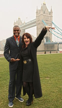 Carl Lewis poses with Nadia Comaneci London 2012 Photocall