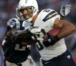 Chargers Jackson against Patriots Arrington at Gillette Stadium in Foxboro, MA.