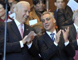 Emanuel cheers with Biden in Chicago
