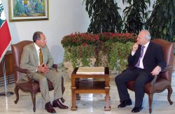 LEBANESE PRESIDENT LAHOUD HOSTS SPANICH FOREIGN MINISTER MORATINOS