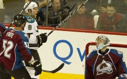 Sharks Center Pavelski Scores Against Avalanche Goalie Anderson in Game Six in Denver