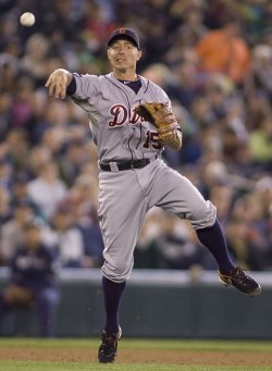 Detroit Tigers Inge thows out Seattle Mariners Lopez in the sixth inning in Seattle.