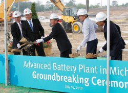LG Execs and Michigan politians break ground in Holland, Michigan