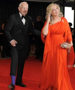 Bob Schieffer and Morgan Fairchild arrive for White House Correspondent's Assoc. in Washington DC