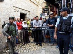 Israeli Police Secure Muslim Quarter Old City Jerusalem