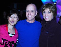 Kristi Yamaguchi, Scott Hamilton and Dorothy Hamill pose for a photo at Kaleidoscope in Washington