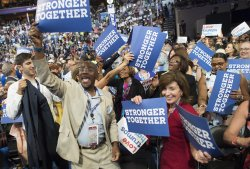 Delegates celebrate at the DNC convention in Philadelphia