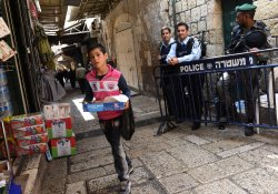Palestinian Boy Passes Israeli Police Muslim Quarter Old City Jerusalem