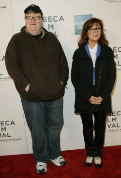 "Michael Moore and Susan Sarandon speak at the ""Tribeca Talks Directors Series"" at the Tribeca Film Festival in New York"