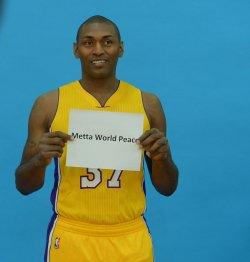 Metta World Peace participates in Lakers media day