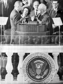 President Lyndon Baines Johnson takes his second oath of office on Capitol Hill