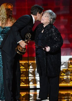 Kathy Bates and Steve Levitan attend the 64th Primetime Emmy Awards in Los Angeles
