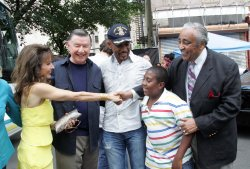"Susan Lucci, Larry Jones, Montel Williams and Charles Rangel arrive for the Feed the Children/""Daytime Gives Back"" project in New York"