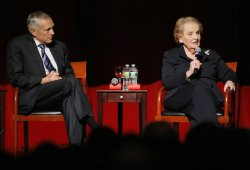Madeleine Albright speaks at the Dayton Accords discussions held in New York