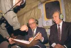 File Photos of Israeli Leader Shimon Peres And King Hussein Of Jordan
