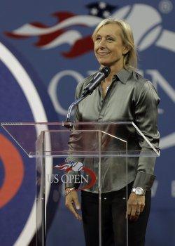 Martina Navratilova speaks at the U.S. Open Tennis Championships in New York