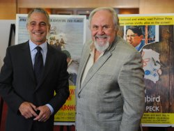 Tony Danza and George Schlatter attend the Gregory Peck first-day-of-issue stamp ceremony in Beverly Hills, California