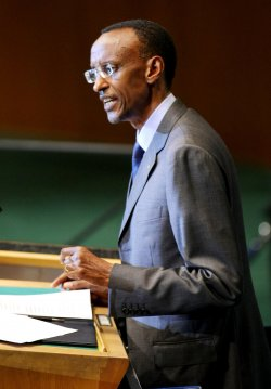 Rawanda's President Paul Kagame addresses the General Assembly at United Nations