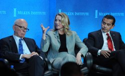 Rupert Murdoch, Laurene Powell Jobs and Mayor Villaraigosa join in discussion on immigration strategy at the Milken Institute Global Conference in Beverly Hills, California
