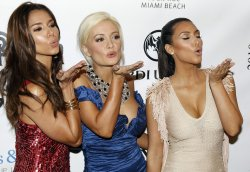 Kim Kardashian, Holly Madison and Roselyn Sanchez arrive at the 7th Annual Leather and Laces party in Miami