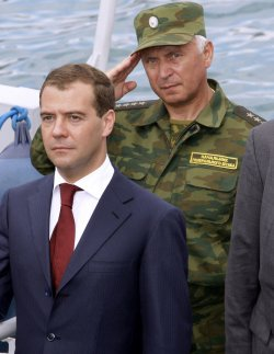 Russian President Medvedev inspects the missile cruiser Moskva in Novorossiysk