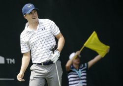 Jordan Spieth watches his tee ball at the PGA