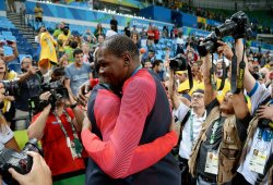 Kevin Durant of the United States celebrates at Rio Olympics